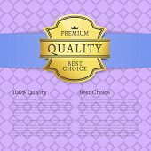 Premium Quality Best Choice 100 Quality Poster With Gold Label Topped By Crown, Guaranty Of Best Qua poster
