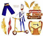 Travel Watercolor Clipart. Summer Collection With Shorts, Sailor, Leaves, Suitcases And Backpack. Pe poster