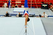 Sports Gymnastics Athlete Gymnast Exercises On Horizontal Bar poster
