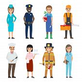 Professions People Vector Icons Set. Different Profession Woman And Man Cartoon Characters In Unifor poster