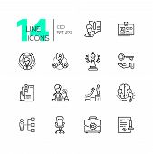 Ceo - Set Of Line Design Style Icons Isolated On White Background. High Quality Minimalistic Black P poster