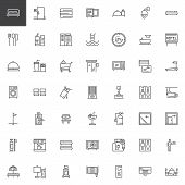 Hotel Outline Icons Set. Linear Style Symbols Collection, Line Signs Pack. Vector Graphics. Set Incl poster