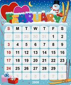 Monthly Wall Calendar February 2008