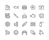 Simple Set Of Car Service Related Vector Line Icons. Contains Such Icons As Oil, Filter, Steering Wh poster