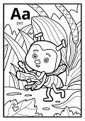 Coloring Book For Children, Colorless Alphabet. Letter A, Ant poster