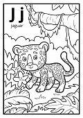 Coloring Book For Children, Colorless Alphabet. Letter J, Jaguar poster