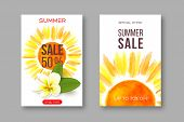 Summer Sale Banners With Handdrawn Watercolor Sun And Tropical Flower Plumeria. Template For Seasona poster
