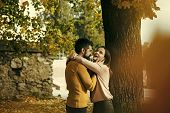 Date A Young Couple In Love. Autumn Happy Couple Of Girl And Man Outdoor. Love Relationship And Roma poster
