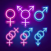 Various Gender Identities And Sexualities, Neon Glowing Icons, Vector Illustration poster