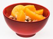 Bowl Of Oatmeal And Peaches