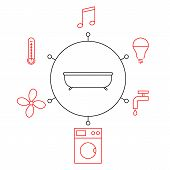 Smart Bathroomr, Smart Home, Iot Flat Vector Illustration. Concept Of The Internet Of Things, Elemen poster