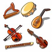 A Set Of Classic Strings, Percussion And Wind Musical Instruments Isolated On White Background. poster