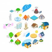 Land Icons Set. Isometric Set Of 25 Land Vector Icons For Web Isolated On White Background poster