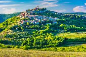 Scenic View At Famous Motovun Town In Istria Region, Luxury Travel Destination In Croatia, Europe. poster