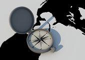 Compass On World
