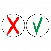 Tick And Cross In Circle Sign Isolated On White Background. Green Tick And Red Cross Sign. Tick And  poster