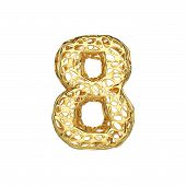 Alphabet Number 8. Gold Font Made Of Yellow Cellular Framework. 3d Render Isolated On White Backgrou poster