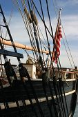 Tall Ship Rigging And Flag