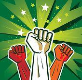 cartel de la mano de revolución