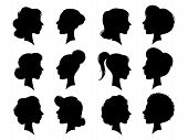 Adult And Young Womans Vintage Side Faces Silhouette. Woman Face Profile Or Side Female Head Silhoue poster