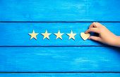 Four Stars And Heart On A Blue Background. Rating Five Stars, The Choice Of The Editorial Office And poster
