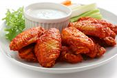 stock photo of chicken wings  - buffalo chicken wings with blue cheese dip - JPG