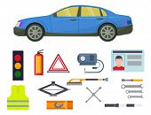 Auto Transport Vector Motorist Equipment Transportation Service Car Driver Tools High Detailed Repai poster