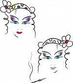 Beauty Women Face. Vector Illustration