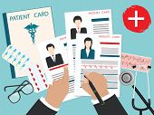 Male Hands With A Pen - Medical Cards Of Patients With A Photo, Cardiogram, Stethoscope - Art Vector poster