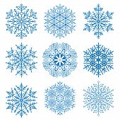 Set Of Blue Snowflakes. Fine Winter Ornament. Snowflakes Collection. Snowflakes For Backgrounds And  poster