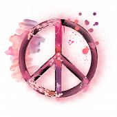 Watercolor Peace Sign Symbol For Peace Day. Art Abstract Illustration Painting For Your Design Isola poster