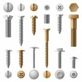 Stainless Bolts Screws, Nuts, Fasteners And Rivets Vector Illustration Isolated On White Background. poster