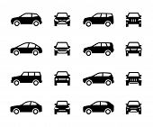 Cars Front And Side View Signs. Vehicle Black Silhouette Vector Icons Isolated On White Background.  poster