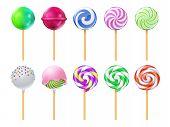 Dulce Lollipops. Sweet Sugar Candy Stick Isolated Vector Set. Lollipop Dessert On Stick, Caramel Str poster