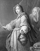 Judith with the Head of Holofernes. Engraved by J.Carter and published in Gems of European Art, United Kingdom, 1846.
