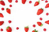 Summer Fruit Pattern. Healthy Fresh Red Strawberries And Raspberries, Isolated On White Table Backgr poster