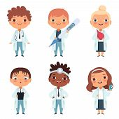 Children In The Doctor Profession In The Various Action Poses. Kids Job And Occupation Medical, Vect poster
