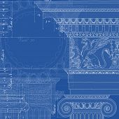 Blueprint. Hand draw sketch ionic architectural order. Bitmap copy my vector ID 84472288