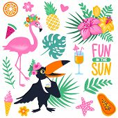 Vector Summer Set With Cartoon Toucan, Monstera, Tropical Leaves, Coconut, Ice Cream, Pineapple, Coc poster