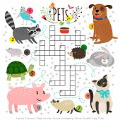 Kids Crosswords With Pets. Children Crossing Word Search Puzzle With Pats Animals Like Cat And Dog,  poster