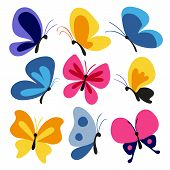 Hand Drawn Butterflies Set, Butterfly Character, Flying poster