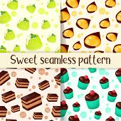 Set Of Colorful Seamless Pattern With Tasty Desserts In Cartoon Style. Cupcake, Cake, Jelly And Mang poster