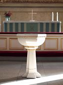 picture of baptism  - white Baptismal Font in the Helsinki Cathedral - JPG
