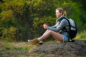 Young Woman Traveler Hiking In Summer Forest And Stopped To Have Rest With Cup Of Tea. Travel, Hikin poster