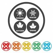 Four Seasons, Season Icon, 6 Colors Included, Simple Icons Set poster