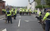 Mounted Police And Police Dogs Keep Exeter City Supporters Segregated From Plymouth Argyle Supporter