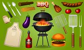 Barbecue Grill Elements Set Isolated On Red Background. Bbq Party. Summer Time. Meat Restaurant At H poster