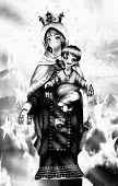 Virgen Del Carmen,in Black Of White Scale, Anime Style. poster