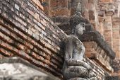 700 Years Old Ancient Stone Buddha Statue In Unsymmetry Stone Wallpaper, Full Body Art Crafting Souv poster