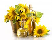Bottles of vegetable oil  and sunflower